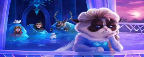 reine des neiges-grumpy cat